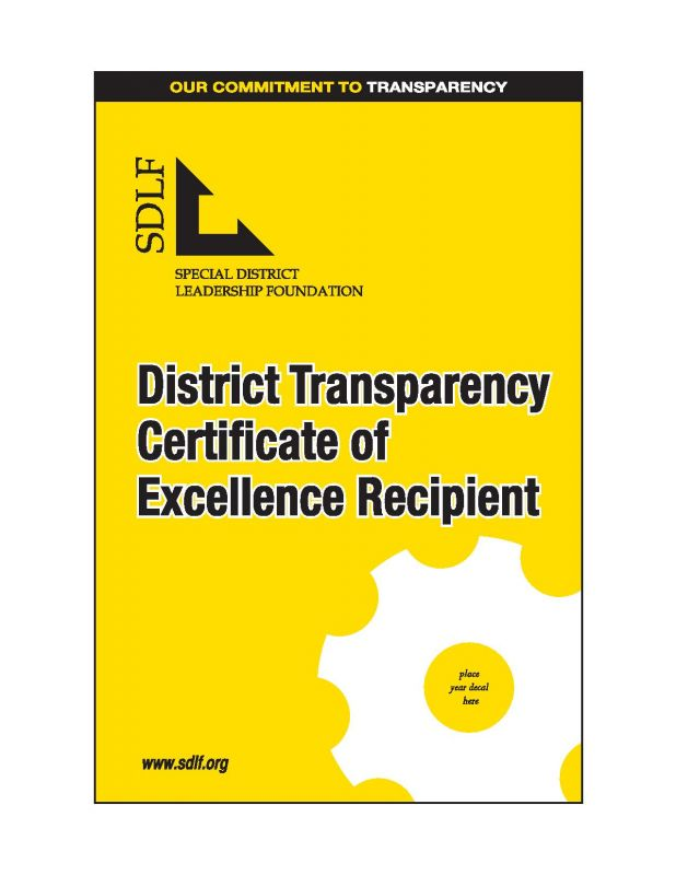 District Transparency Certificate of Excellence Recipient